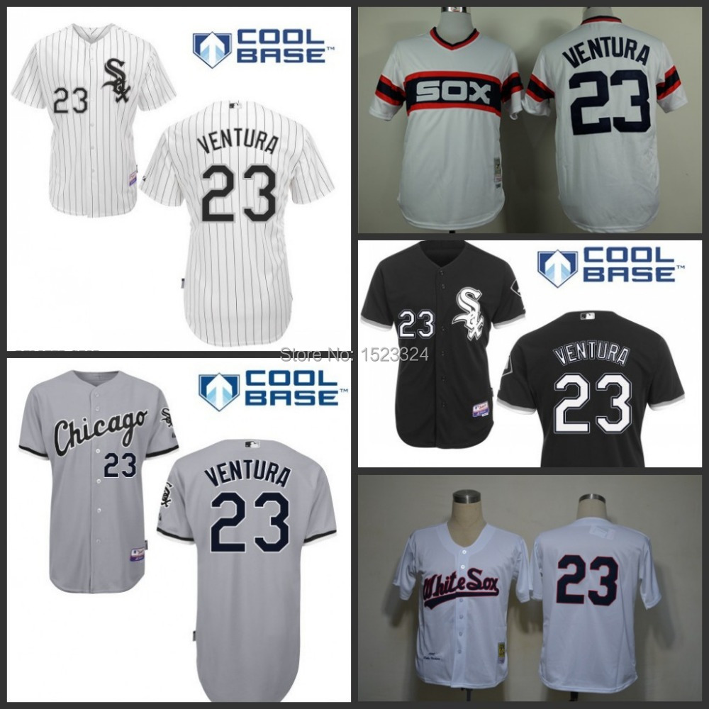 New Arrival Men's black/white/gray/red/multi Baseball Jerseys 23 Robin Ventura Authentic Chicago White Sox Jersey stitched S-3XL(China (Mainland))
