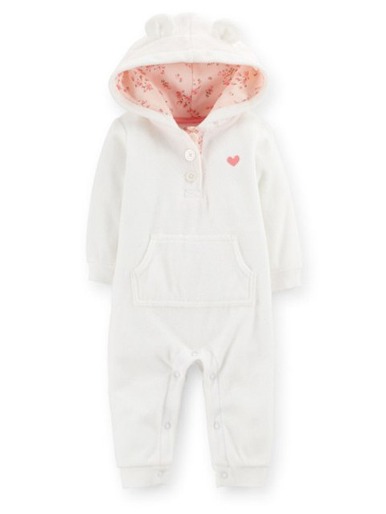 New Original Carter's Baby Girls baby boys Hooded Microfleece Jumpsuit, Carters Baby Girls and boys Rompers, Freeshipping(China (Mainland))