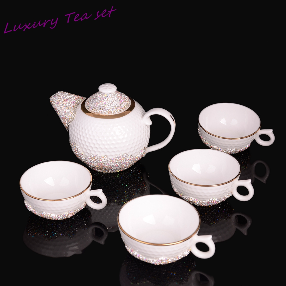 Top Quality Royal Ceramics Bone China Coffee and TeaSet luxury Palace sparkling Ceramic and Handmade inlay diamond gem tea Mug(China (Mainland))