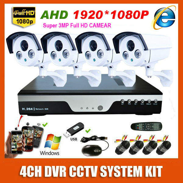 New 4CH AHD Super HD 1920*1080P Security Camera CCTV System Kit Array IR Waterproof 3.0MP 4 Channel Surveillance System(China (Mainland))