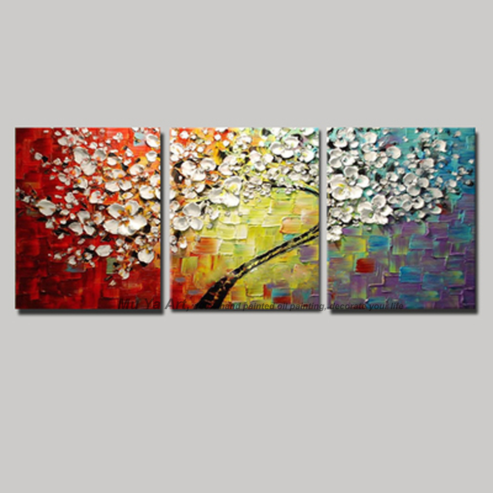 3 Piece Purple Cherry Blossom Muti Panel Abstract Modern: Acrylic Tree Painting Promotion-Shop For Promotional