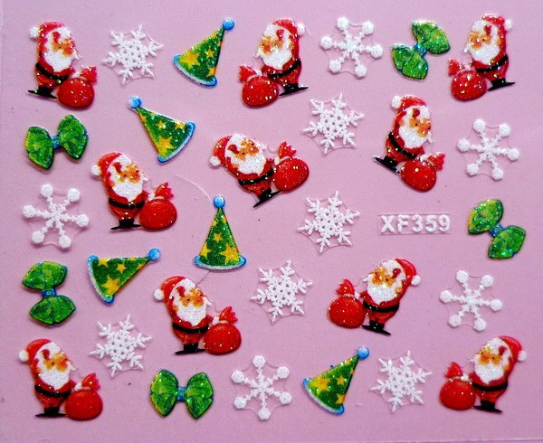 XF359 Free Shipping Brand 3D Design Tip Nail Art Christmas Nail Stickers Decals Carving Nail Art Decorations(China (Mainland))