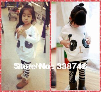 Children Girls Clothing Sets Outfit 2pcs/set Costume Suit for Kids Sportswear Panda Batwing Sleeve Shirt +Striped Pants Leggings