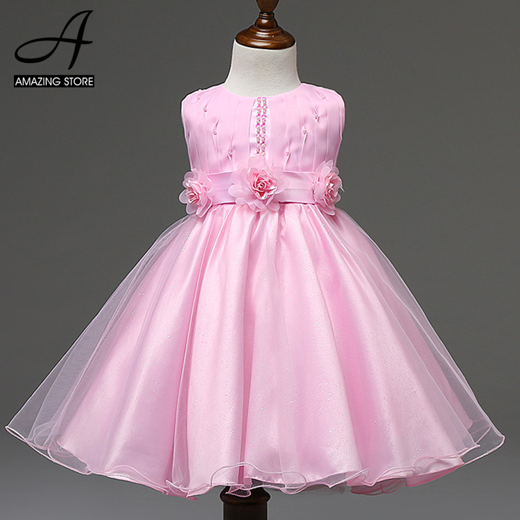 2016 Spring Pink flower girls dresses wedding party birthday party girls clothes princess dresses little girl vestidos de fiesta(China (Mainland))