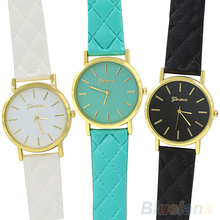 Men's Women's Fashion Geneva Checkers Faux Leather Quartz Analog Wrist Watch  2KHU