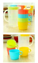 4 pcs set Candy color cup set coffee mug cup with lid tea set zakka travel