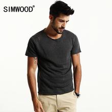SIMWOOD 2017 Spring Summer New Shorts Sleeve T Shirts Men Hollow Linen Tees Fashion Brand Clothing TD1175(China (Mainland))