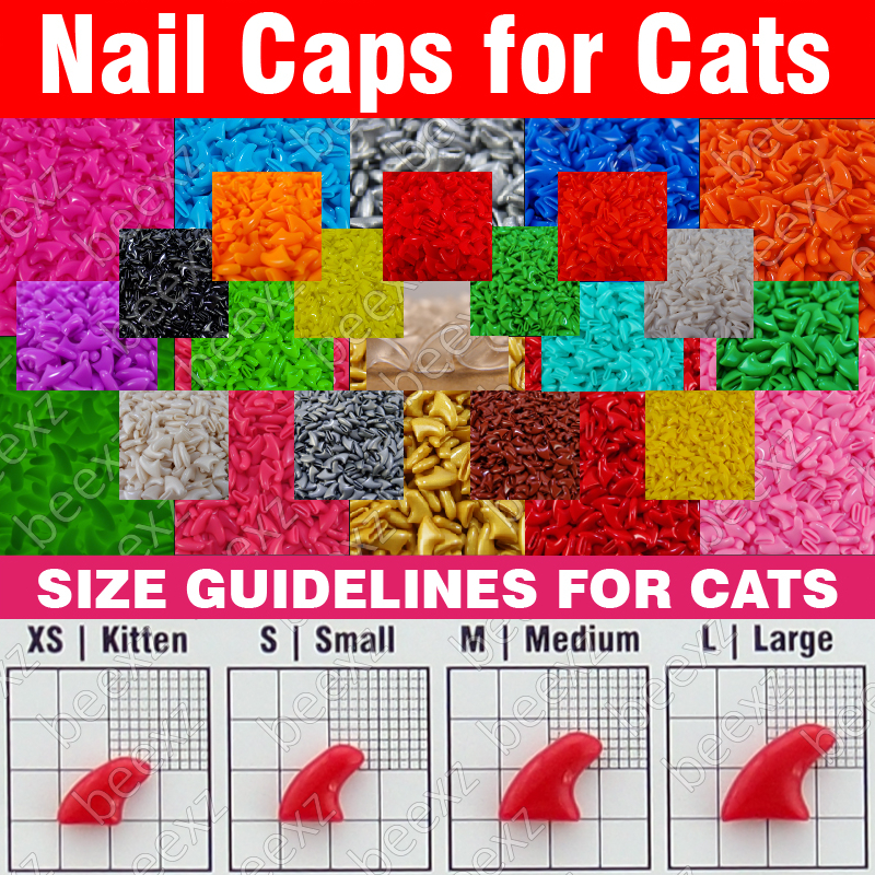120pcs - Soft Nail Caps for Cats + 6x Adhesive Glue + 6x Applicator /* XS, S, M, L, paw, claw, cover, lot, cat */(China (Mainland))