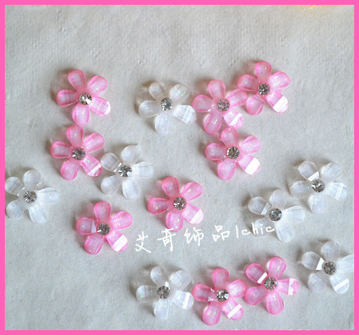 New Arrival Japanese Kawaii Resin Flower With Drill Flat Back Cabochon Mixed Diy Phone Decoration Cell Accessories