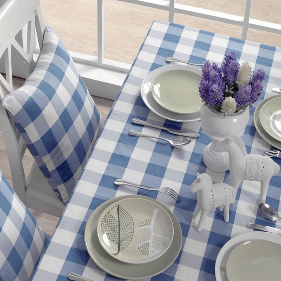2015 new sale linen tablecloth blue white plaid table cloth handmade rectangle round tablecloths dinner coffee table covers(China (Mainland))