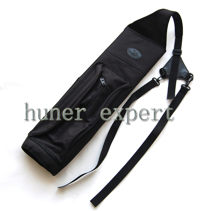 A shoulder arrow quiver canvas hunting bow arrow case with adjustable strap and pouch