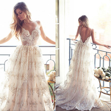 Buy Robe de Mariage Sexy Open Back Bohemian Lace Vintage Boho Beach Wedding Dress 2017 Romantic Wedding Bridal Gowns for $150.39 in AliExpress store
