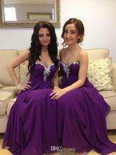 Buy Elegant 2016 Chiffon Long Purple Bridesmaid Dresses Wedding Party Prom Gowns Beaded Cheap vestido de festa B63 for $76.49 in AliExpress store