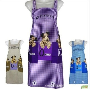 Manufacturers Promotions Korean fashion three cute dog peach plaid gown custom-made double pocket antifouling aprons(China (Mainland))