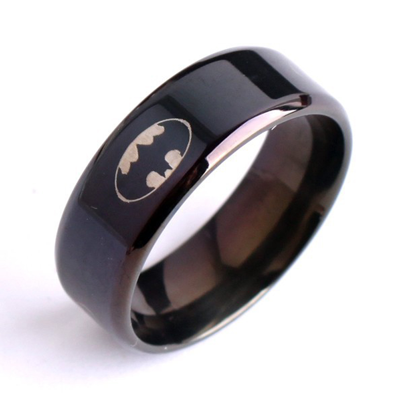 Batman logo stainless steel ring titanium wedding party for Batman wedding rings for men