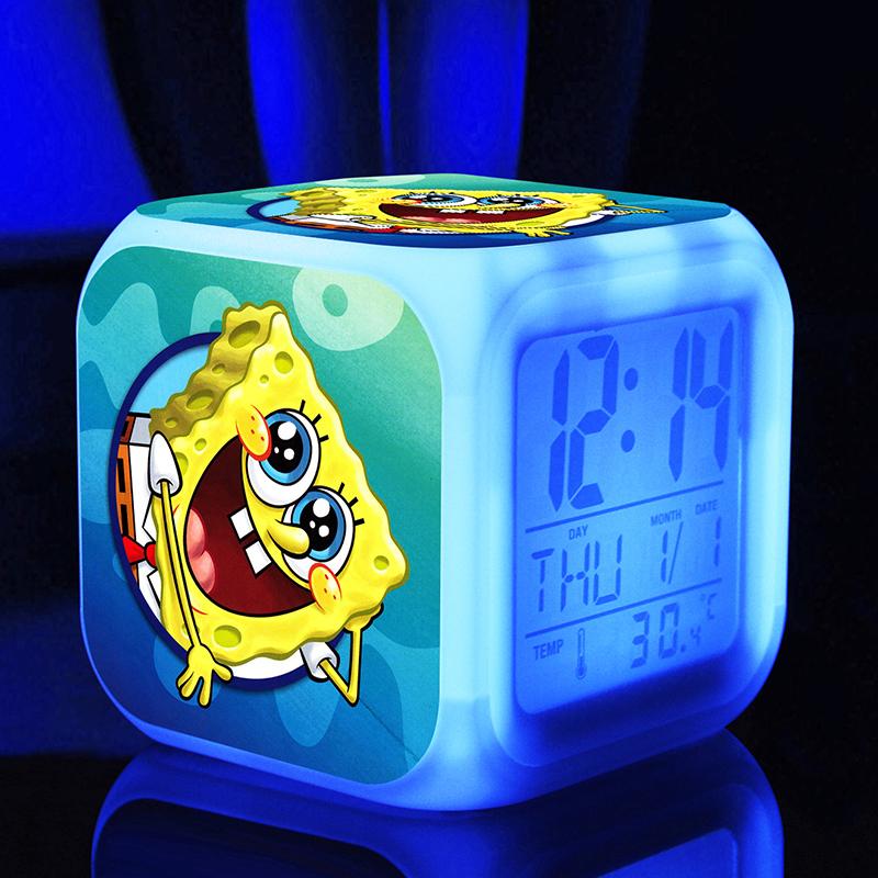 bob sponge New LED 7 Colors Change Digital sponge touchlight Night Colorful Glowing toys(China (Mainland))