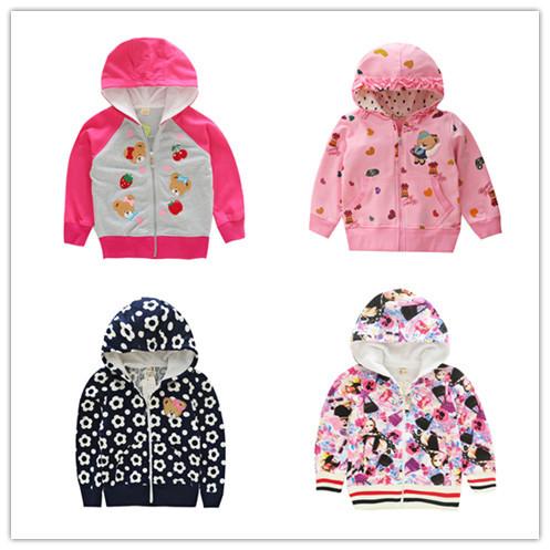 1 piece retail Brand Baby Girl Coats Children Outerwear Jackets Kids Hoodies Cartoon Child Spring girls clothes zipper hoodied(China (Mainland))