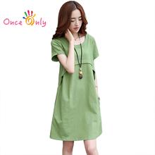 M - XXXL 2016 Summer Thin New Casual Women Loose Linen Dress Orange Blue Green Red Ladies Summer Dress Plus Size Womens Clothes(China (Mainland))