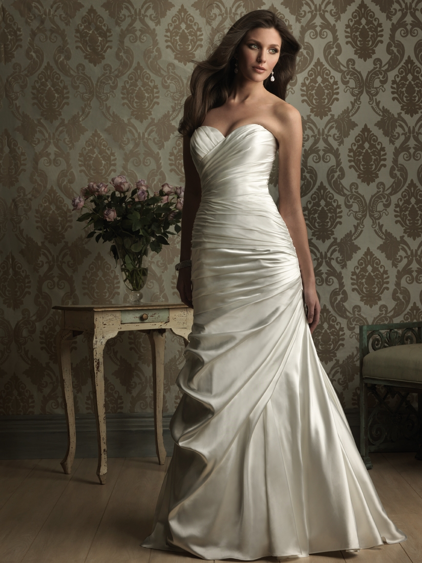 2014 ivory sweetheart off shoulder mermaid full length for Satin mermaid style wedding dresses