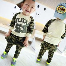 2016 spring & autumn Kid boys infantil military army t-shirt pants clothes suit children tracksuit(China (Mainland))