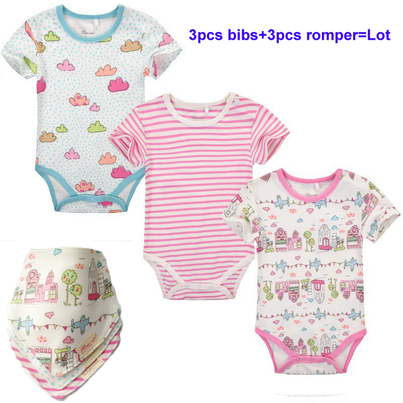 3pcs/lot Short sleeve cotton O-neck Baby rompers clothes baby bodysuitsys boys&amp;girls clothing infant bebe clothes baby rompers<br><br>Aliexpress