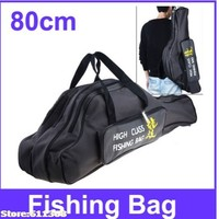 Durable 80cm 3-Layer Canvas Fishing Pole Hard Case For fishing Rods Fishing Tackle Carrying Bag - Color Assorted