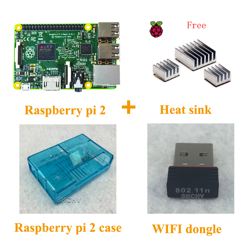 Hot sale Raspberry pi 2 model b + 1pcs Heat sink + rpi2 ABS Case box + 150Mbps wifi usb dongle adapter network(China (Mainland))