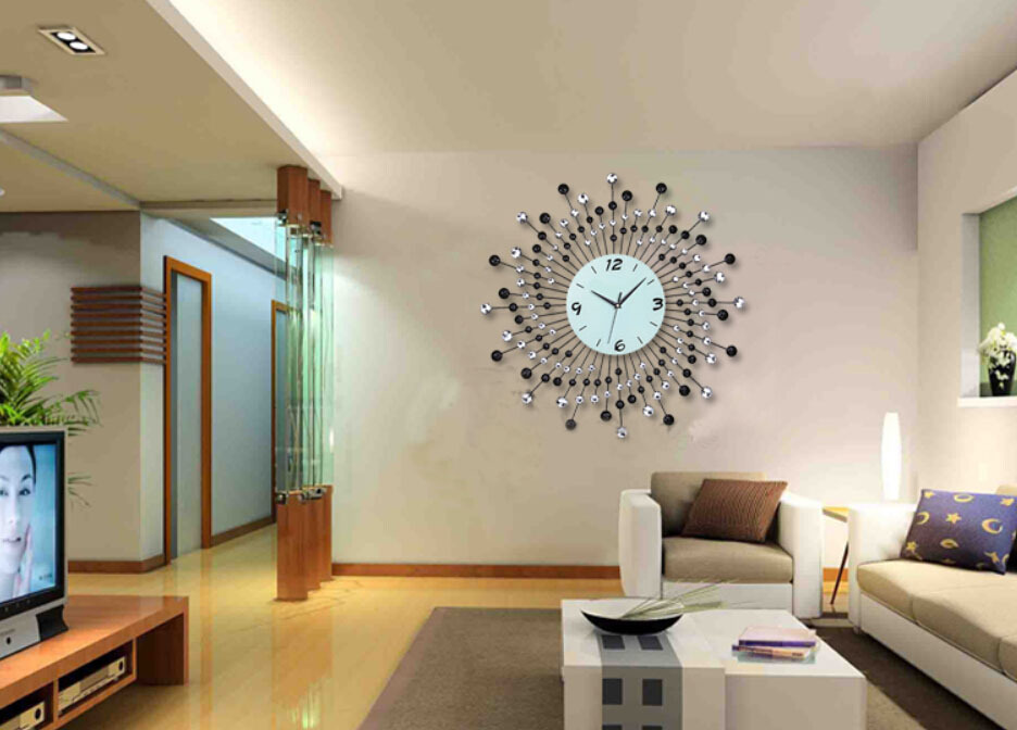 Home Decor Wall Clock Modern Design Diamond Quartz Iron Metal Silent Wall Clocks Living Room