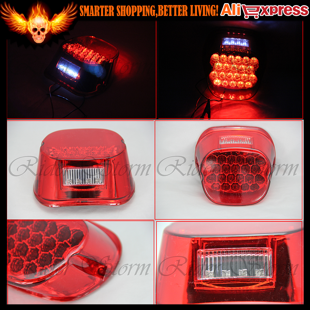 FL RED lens tail brake LED light Harley Davidson motorcycle stop lamp XL FX lo Sportster 883 Low XL883L Custom XL883C  -  Rider Storm store