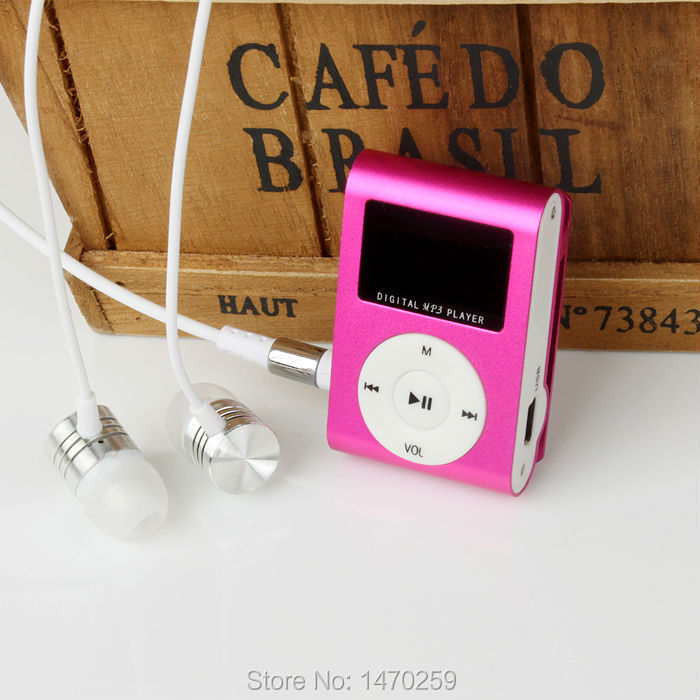 2014 New Portable MP3 LCD Screen Metal Mini Clip MP3 Player With Micro TF/SD Card Slot With High Quality Earphone Music players(China (Mainland))