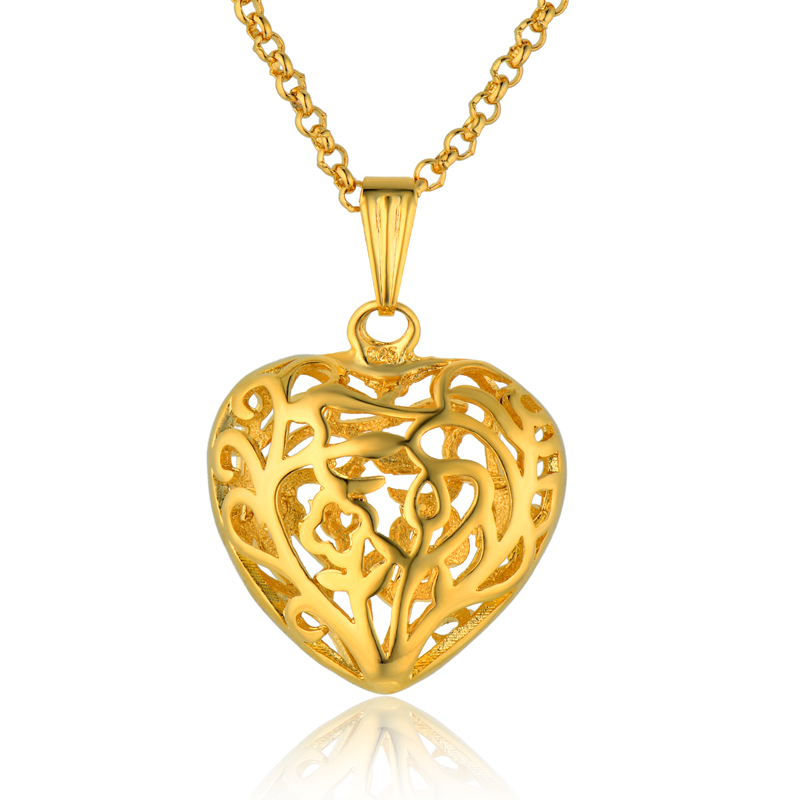 Wholesale Charms Heart Necklace Female, 18K Real Gold Plated Hollow Heart Pendant Necklace, Brand Vintage Cheap Costume Jewelry(China (Mainland))