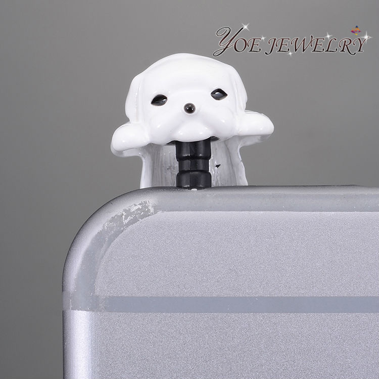 Hot Unique Design  Fashion Anti Dust Plug 3.5mm Cute Colorful Dog  Dust Plug Cell Phone Accessories,Min Order $10(China (Mainland))