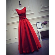 line Cap Sleeve Sexy Women Long Floor Length Lace Back 2016 Red Prom Dress - Peaches Co., Ltd store