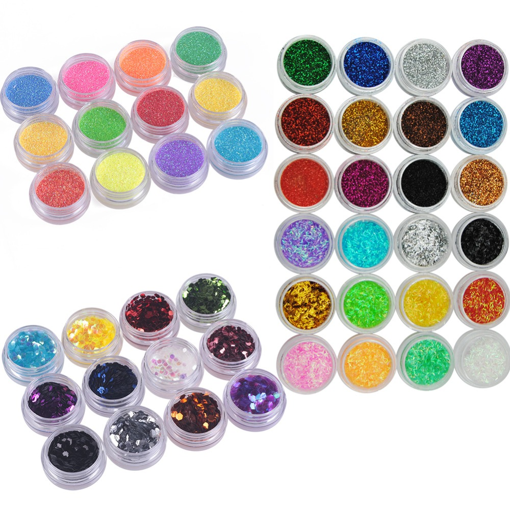 48 Bottle/Set Nail Glitter For Nail Acrylic Powder Dust 3D Tip Rhinestone Manicure Tools Nail Art Decoration Pigments Polish(China (Mainland))