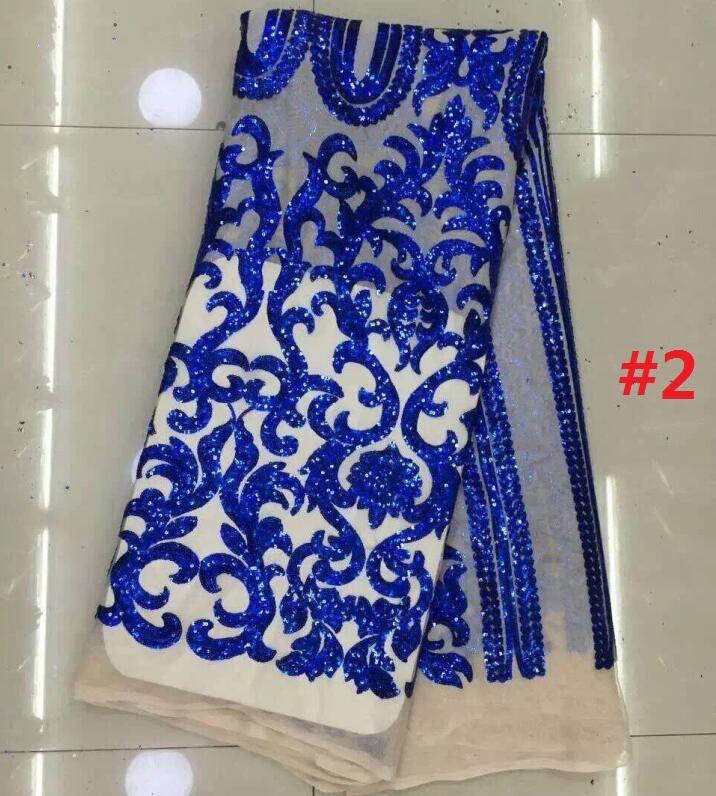 BLUE Sequins lace fabric 2016 African Guipure Lace Latest 100% Polyester Chemical Lace french lace Wholesale price JL-61402(China (Mainland))