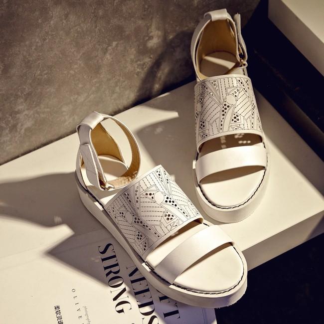 New2015 summer style shoes woman high heel platform sandals wedges Genuine Leather Gladiator Sandals women Luxury brand big size