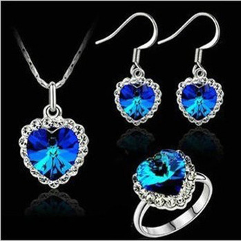hottime jewelry / fashion jewelry pendants Chinese suppliers Pointe earrings + necklace + ring sets / 010
