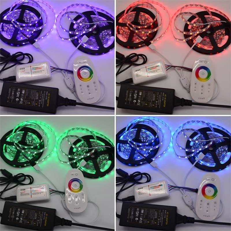 Купить 10 М Гибкие Светодиодные Ленты RGB SMD 5050 Рождественские Огни Ленты Света + 2.4 Г Сенсорная Панель РФ Led Пульт дистанционного управления + 12 В 6А Адаптер Питания