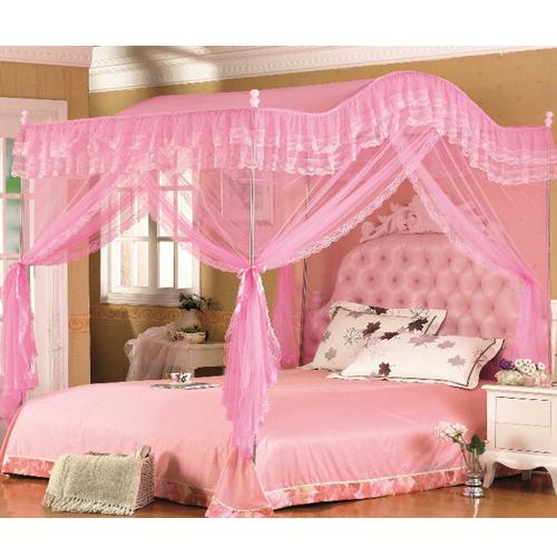 H l mosquito net bed canopy bedroom 4 corner 3 door for Canape 180x200