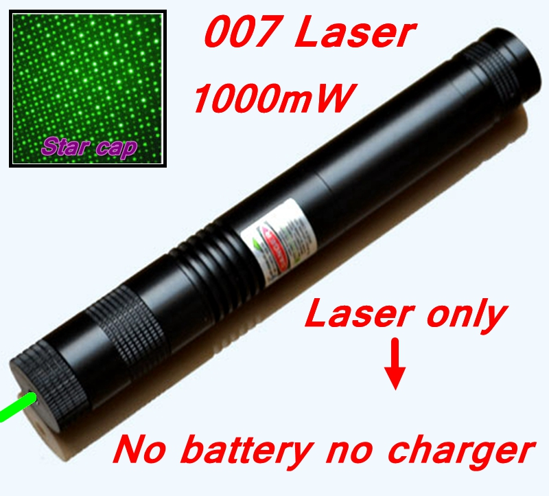 [RedStar]1000mW 007 Laser only Green laser pointer burn match green laser pen starry cap without 18650 battery & charger(China (Mainland))