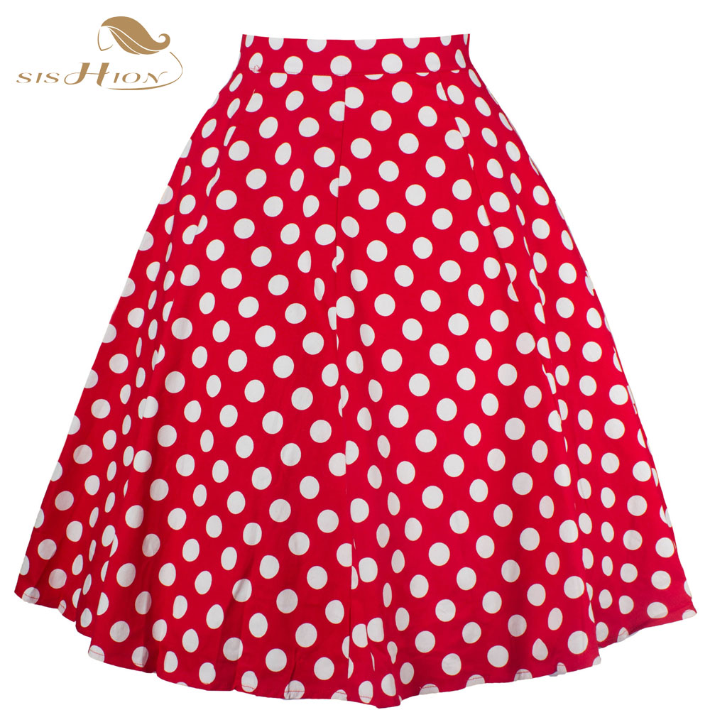 Short Blue Red Women Skirts Polka Dot High Waist Vintage Skirt Knee Length Skater Midi Skirt faldas mujer Plus Size VD0175(China (Mainland))