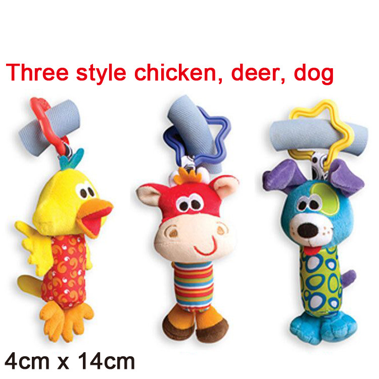 2015 3pcs/lot Playgro Baby Toys Tinkle Trio Hand Bell Multifunctional Stroller Mobile cot hanging toy baby rattle toy soft plush(China (Mainland))