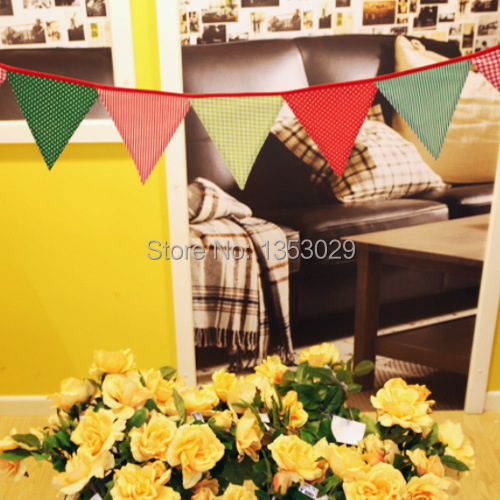 12 Flags 100% Cotton Fabric Flags 2.4 Meters Wedding Bunting Banner Wedding Party Garland Decoration Camping Decoration(China (Mainland))