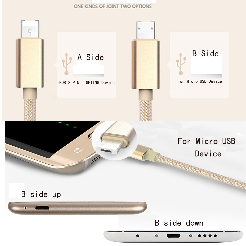 100 cm Micro USB Cable for Iphone 8 pin Fast charging charge Nilon cord Cable for Both Iphone & Android Line Cable for Iphone 5s(China (Mainland))