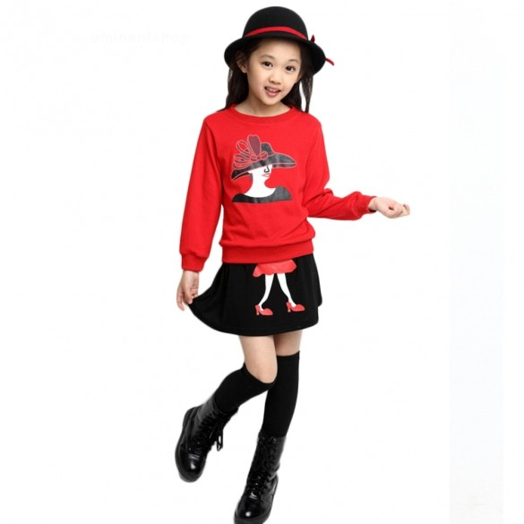 2015 New Spring Autumn Children Girl 2pc Sets Skirt Suit Cartoon Skirt Sets 3-11 Years Old Drop Shipping 50(China (Mainland))