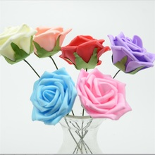 10pcs 7cm With Stems Mini Head PE Rose Foam Flowers Solid Scrapbooking Headmade DIY Flower Ball Wedding Party Decoration(China (Mainland))