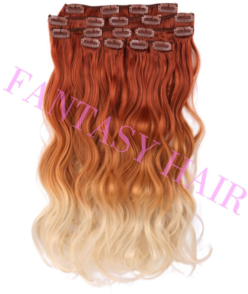 8pcslot red blonde ombre Brazilian long body wave synthetic full head clip in hair extensions for wome heat resistant no tangle-8