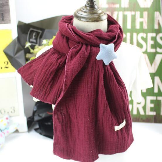 Winter Autumn Children Scarf Cotton Neckerchief Boys Girls Cute Star Oversized Scarves  Kids Scarf with Star pendan