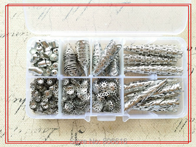 ( Nickel Color - Bead Cap ) 1200Pcs/Set Mix 8 Styles Caps & Box Jewelry Findings& Accessories lia DIY jewelry accessory store