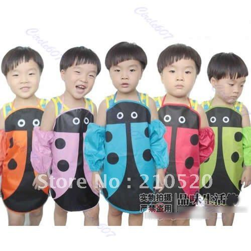 "U95""5PCS/LOT Cute Ladybug Kids Kitchen Garden Fabric Craft Apron Lovely Child Pinafore(China (Mainland))"